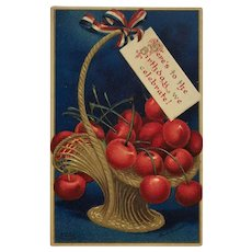 Washington's Birthday Cherries Postcard-Signed Clapsaddle