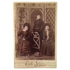 Cabinet Card-  Victorian Ladies With Umbrellas And Hats