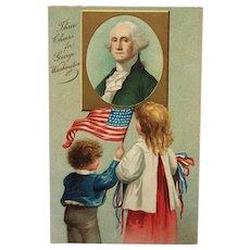 Patriotic Children Learn About George Washington-Clapsaddle