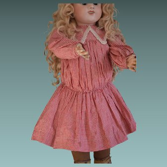 "Red and white checkered dress for a circa 25"" tall doll."