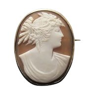 Art Nouveau shell Cameo brooch depicting the profile of a young lady, silver, 19th century