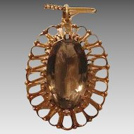 Vintage Smokey Quartz pendant, 14k yellow gold, ca. 1060