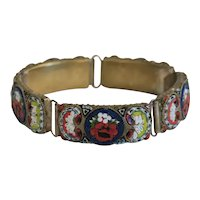 Antique Micro Mosaic bracelet, gilt metal, 19th century
