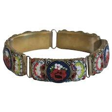 Antique Micro Mosaic bracelet, gilt metal, 19th century