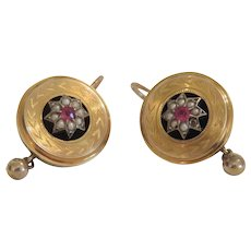 Antique Ruby earrings, 14k yellow gold, 19th century