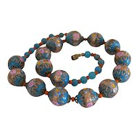 Vintage Murano Fiorato bead necklace, Italy ca. 1930
