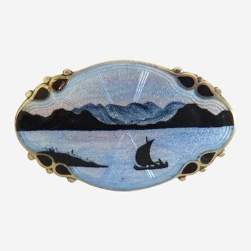 Antique enamel brooch, silver 925,ca.1910