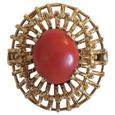 Vintage Coral cabochon ring, 14k yellow gold, ca.1950