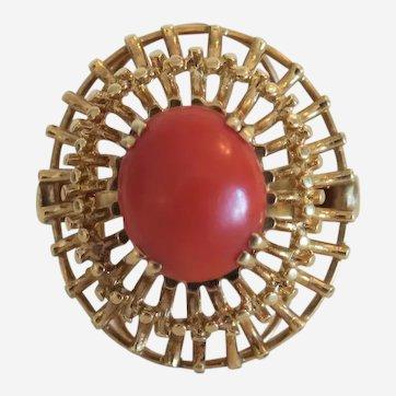 Vintage Coral cabochon ring, 14k yellow gold, ca.1950