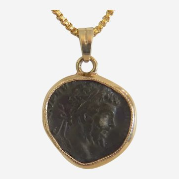 Antique Roman coin pendant, 14k yellow gold