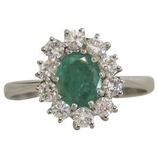 Vintage Diamond and Emerald engagement ring,14 k white gold, ca. 1960