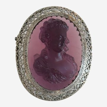 Antique purple glass Cameo brooch, silver 800, 19th century