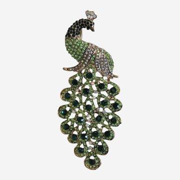 Vintage green crystal peacock brooch, 20th century