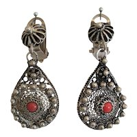 Antique pair of Coral ear clips, silver 800, 19th century
