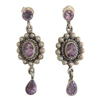Vintage Amethyst dangle earrings, silver 925, ca. 1930