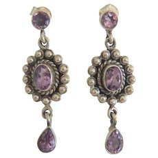Vintage Amethyst dangle earrings, silver 925, ca. 1930