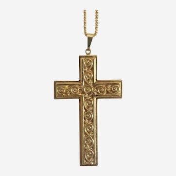 Vintage cross pendant, 14k yellow gold, ca.1980