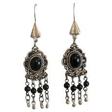 Vintage Onyx dangle earrings, silver 925, ca. 1930