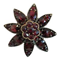 Antique Bohemian Garnet brooch, silver 800,19th century