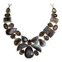 Vintage Smoky Quartz and Agate necklace, silver 925, ca. 1960
