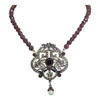 Antique Garnet necklace, silver 925, 19th century