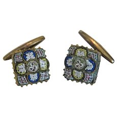 Antique Micro Mosaic cuff links depicting ornaments, 19th century