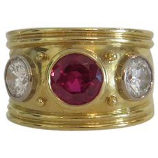 Vintage Ruby and Diamond Etruscan style ring,yellow gold 750, ca.1960
