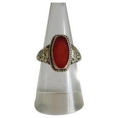 Antique Carnelian ring, 14 k yellow gold, 19th century