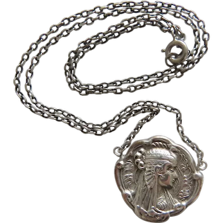 Antique Egyptian Revival necklace, silver 800,19th century