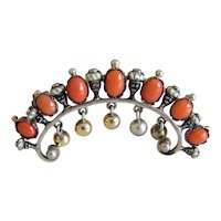 Antique Coral and silver brooch, silver 800, 19th century