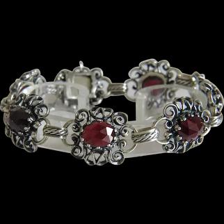 Antique Bohemian Garnet bracelet, silver 800, 19th century