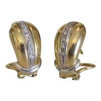 Vintage Diamond clip-on earrings, 14k yellow gold, ca. 1950
