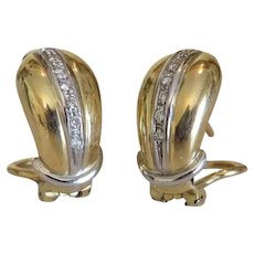 Vintage Diamond clip-on earrings, 14k yellow gold, ca. 1950