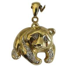 Vintage Panda bear Diamond pendant, 14k yellow gold, ca. 1950