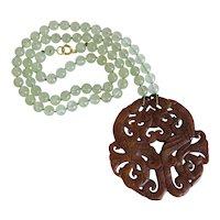 Vintage Prehnite and Jadeite necklace, ca. 1950