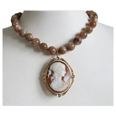 Vintage Shell Cameo pendant fixed on Moonstone bead necklace