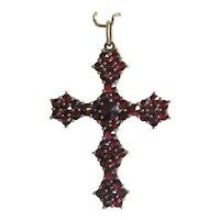 Antique Bohemian Garnet cross pendant, 19th century