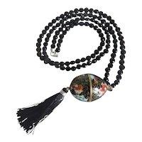 Vintage Onyx bead necklace with Cloisoneé pendant, ca. 1950