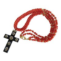 Antique Micro Mosaic cross pendant with Coral necklace, 19th century