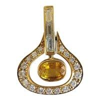 Vintage Diamond and yellow Sapphire pendant, 18k yellow gold