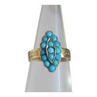 Antique Victorian Turquoise ring, 14k yellow gold