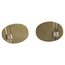 Vintage 14k yellow gold and Diamond cuff links, ca.1960