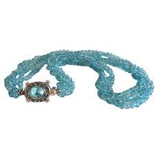 Vintage turquoise Apatite bead necklace , ca. 1970