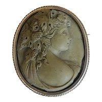Antique Lava Cameo brooch/ pendant, silver 800,19th century