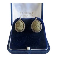 Antique Cameo earrings, silver 800,19th century
