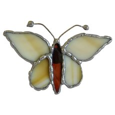 Vintage Agate butterfly brooch, silver 950, ca. 1950