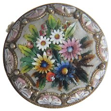 Antique Micro Mosaic silver brooch, 19th century