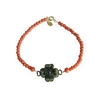 Antique Coral and Micro Mosaic bead bracelet, 19th century