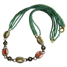 Vintage Emerald and Micro Mosaic necklace, ca. 1930