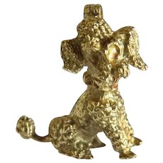 Antique 14 k yellow gold poodle brooch, 19th century